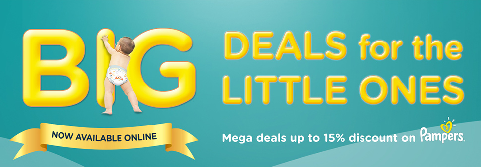 Big Deals for the Little Ones. Now Available online. Mega deals up to 15% discount on pampers