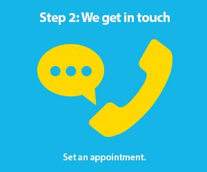 Step 2: We get in touch. Set an appointment.