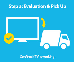 Step 3: Evaluation & Pick Up. Confirm if TV is working.