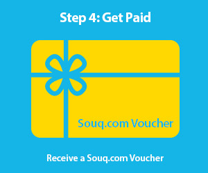 Step 4: Get Paid.  Receive a Souq.com Voucher.