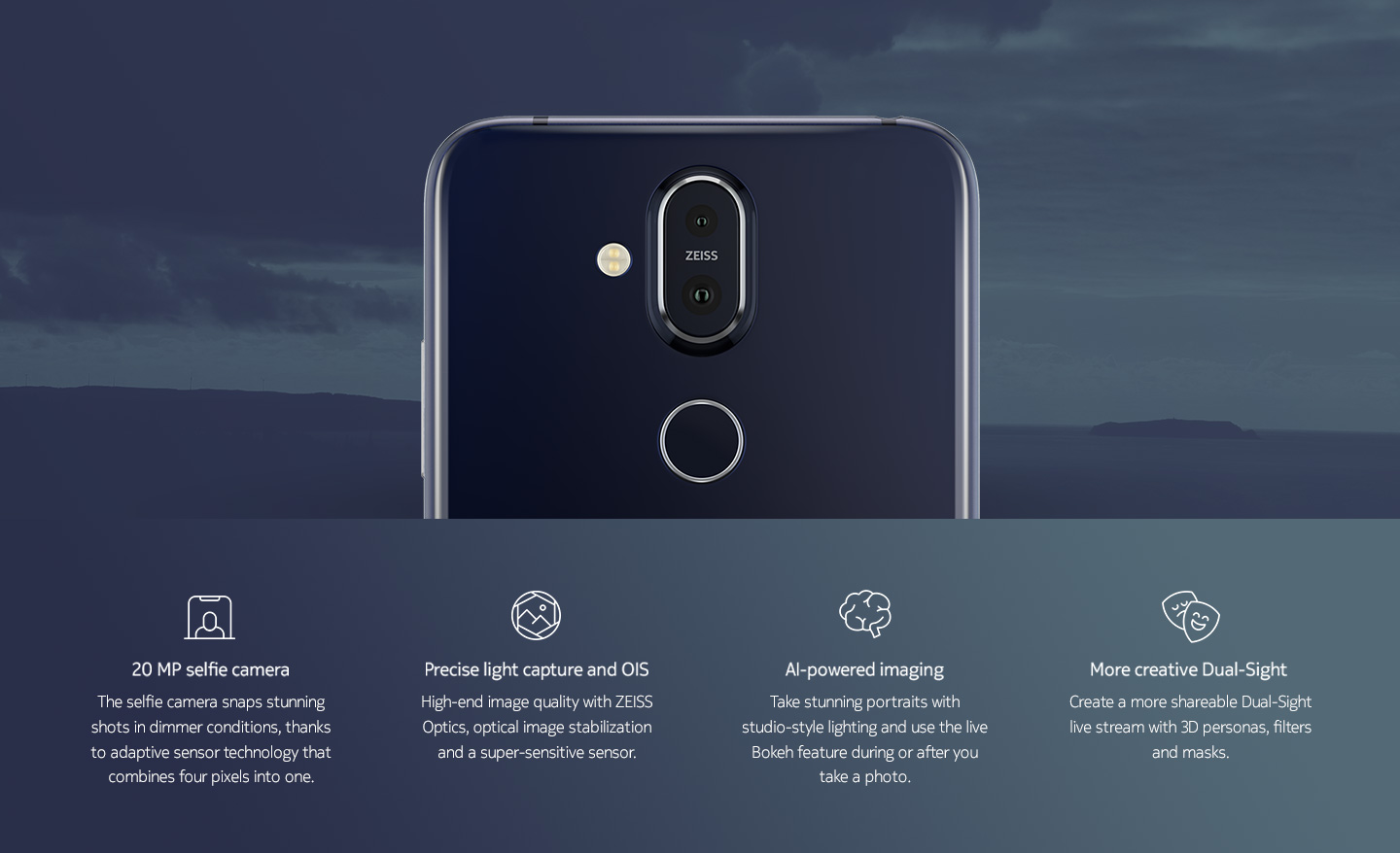 20 MP selfie camera | Precise light capture and OIS | AI-powered imaging | More creative Dual-Sight