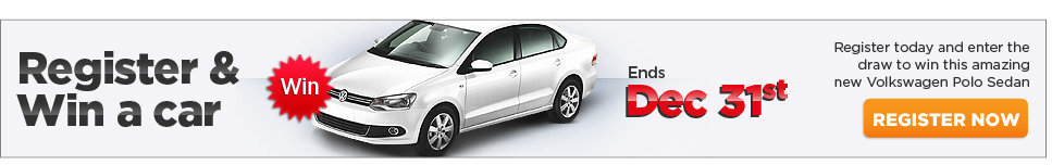 Register and win a car. register today and enter the draw to win this amazing new volkswagen polo sedan